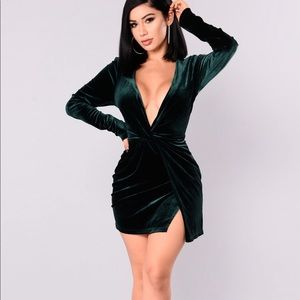 Fashion Nova Green Velvet Knot Dress